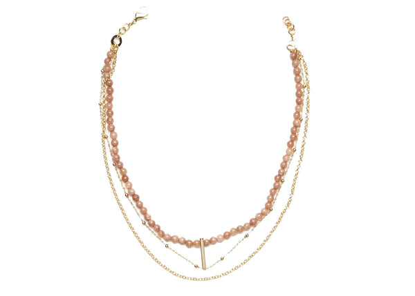 Dia Sunstone Gold Chain Necklace
