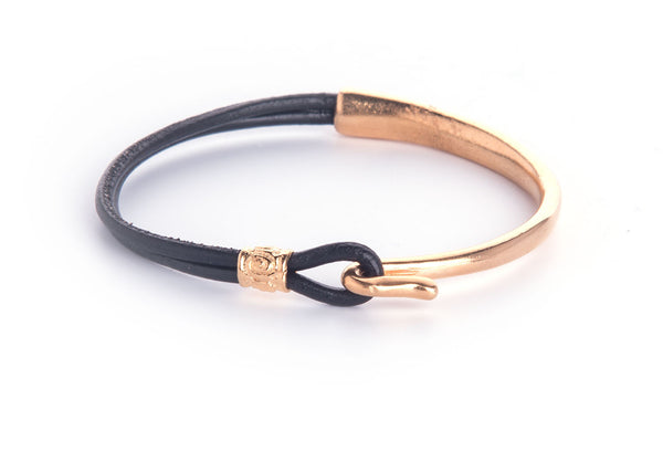 Iona Hook Gold Plated Leather Bracelet-Black