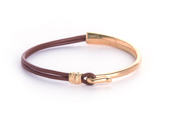 Iona Hook Gold Plated Leather Bracelet-Brown