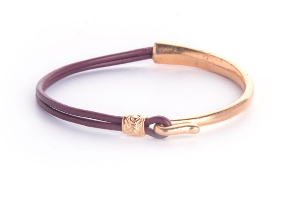 Iona Hook Gold Plated Leather Bracelet-Burgundy