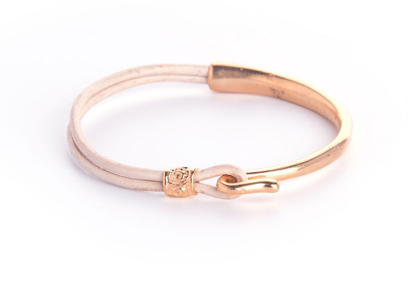 Iona Hook Gold Plated Leather Bracelet-Powder
