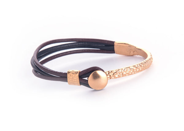 Iona Gold Plated Leather Bracelet-Black/Brown