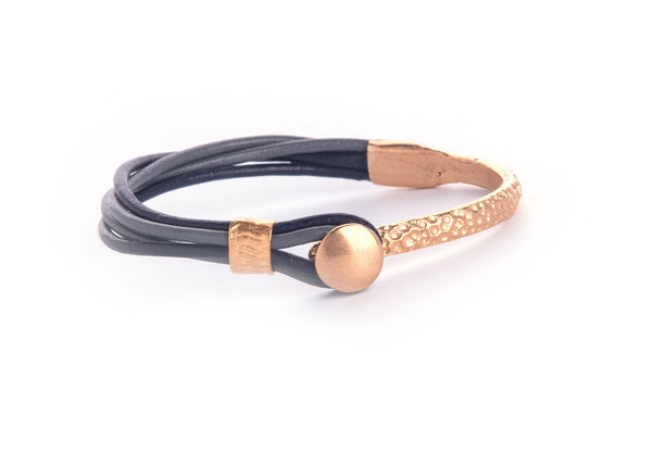 Iona Gold Plated Leather Bracelet-Black/Grey