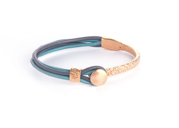 Iona Gold Plated Leather Bracelet-Green/Grey