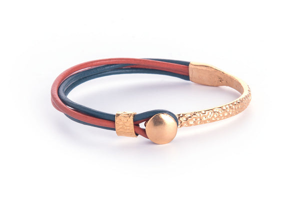 Iona Gold Plated Leather Bracelet-Peacock/Orange
