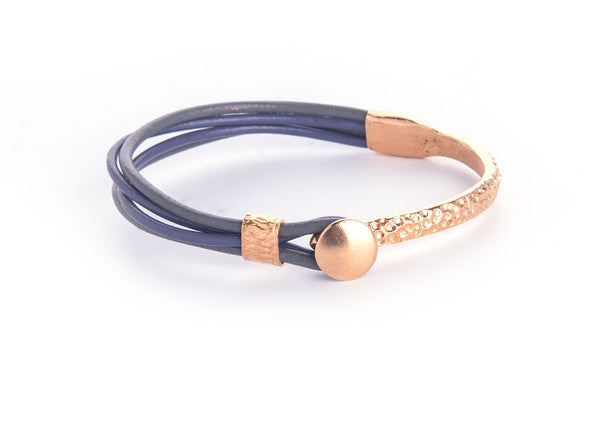 Iona Gold Plated Leather Bracelet-Purple/Grey