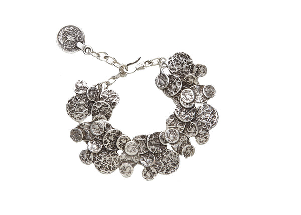 Iris Coin Silver Plated Bracelet