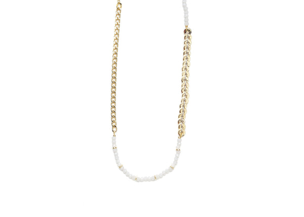 Lyra Beige Bead Gold Necklace / Bracelet