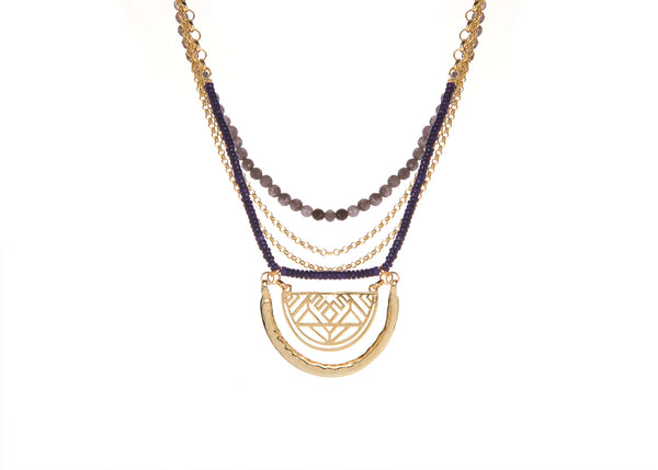 Audrey Navy-Grey Necklace