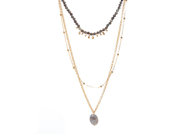 Elenor Olive Layered Necklace