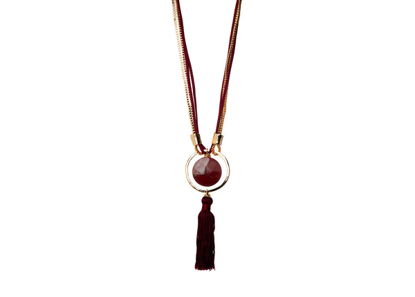 Maya Tassel Burgundy Necklace