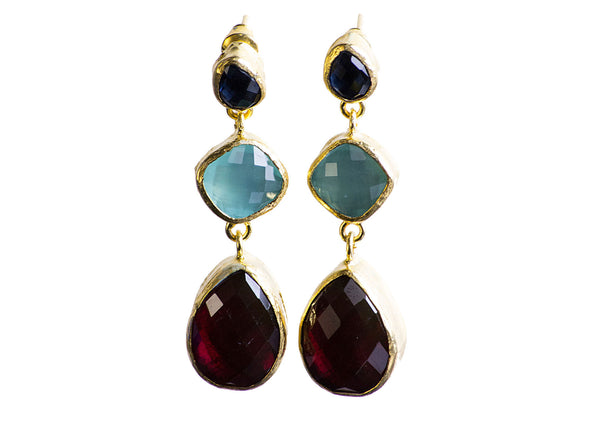 Sapphire Teal Green Granat Stone Earring