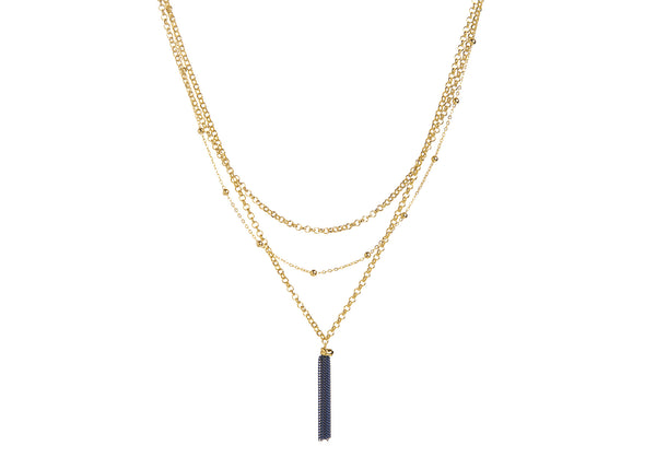 Thalia Gold Plated Blue Tassle Necklace