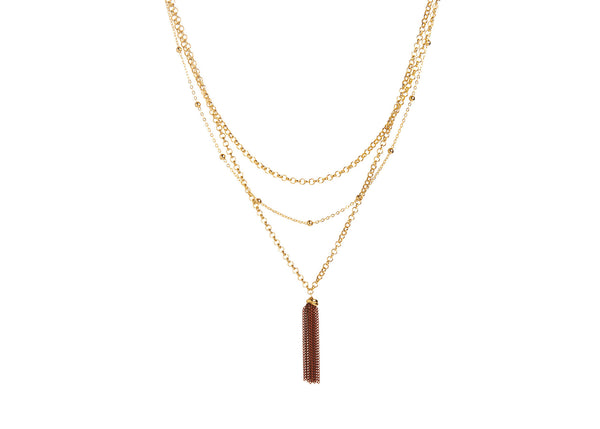 Thalia Gold Plated Red Tassle Necklace
