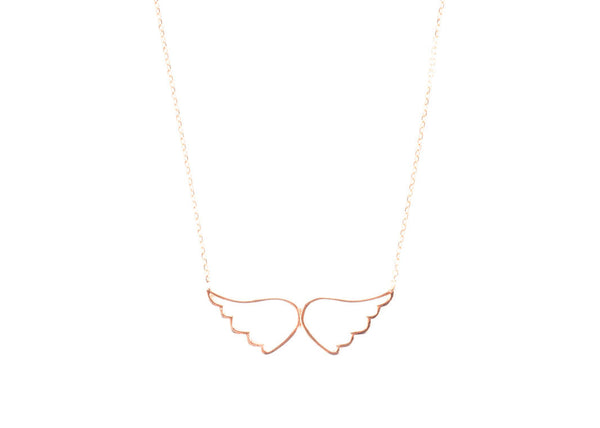 Angel Wings Rose Gold Plated Silver Necklace