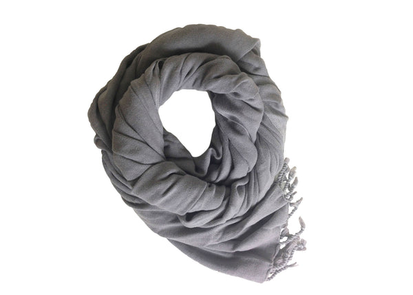 Lalay Ash Grey Handwoven Stone Washed Scarf