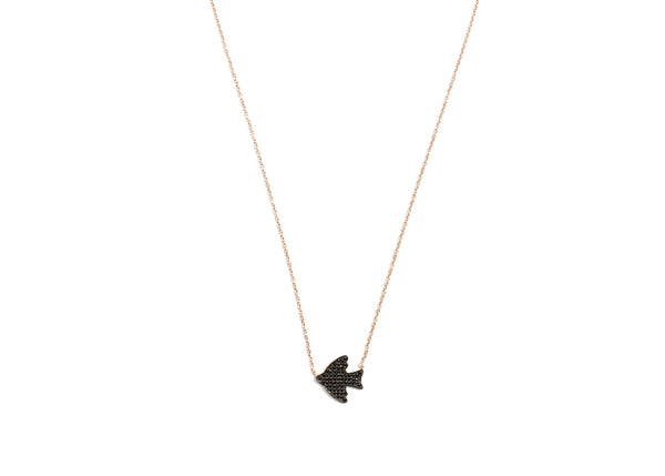 Kara Black Bird Rose Gold Plated Silver Necklace