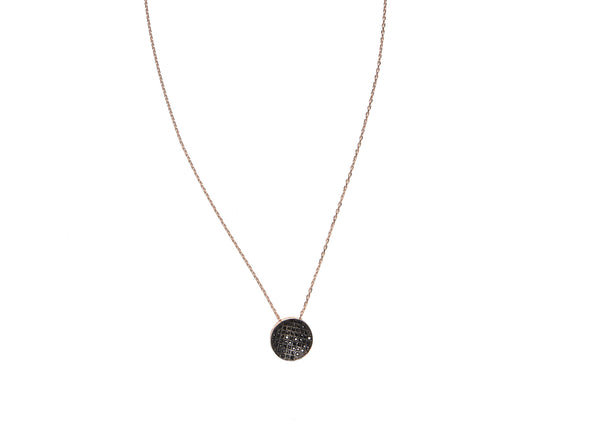 Black Disc Rose Gold Plated Silver Necklace