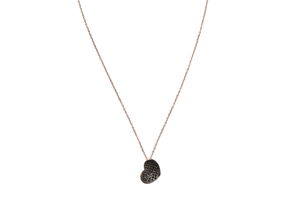 Black Heart Rose Gold Plated Silver Necklace