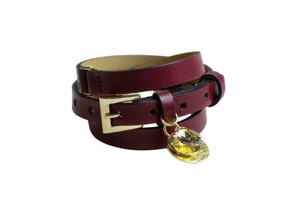 Burgundy Leather Wrap Bracelet