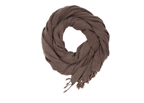 Lalay Chocolate Handwoven Stone Washed Scarf