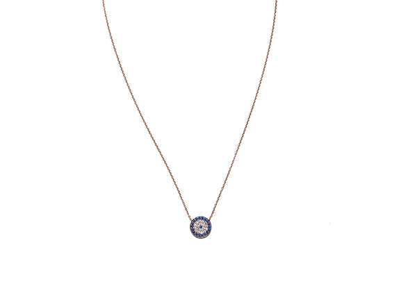 Evil Eye Rose Gold Plated Silver Necklace