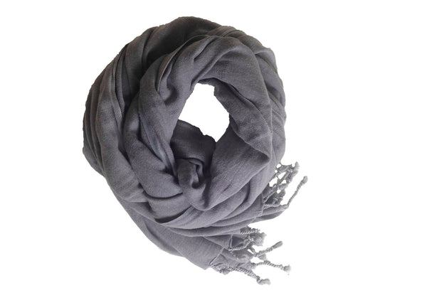 Lalay Grey Striped Handwoven Stone Washed Scarf