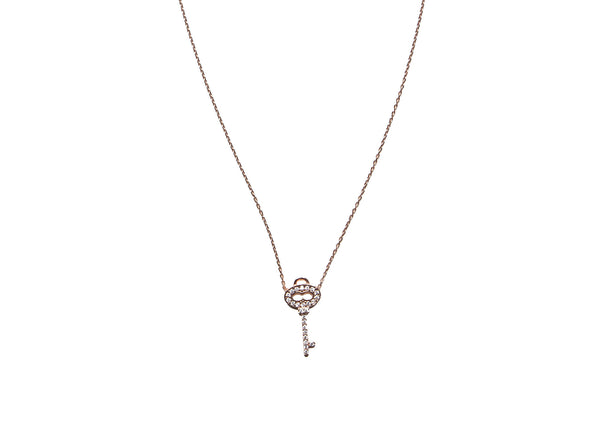 Key Rose Gold Plated Silver Necklace