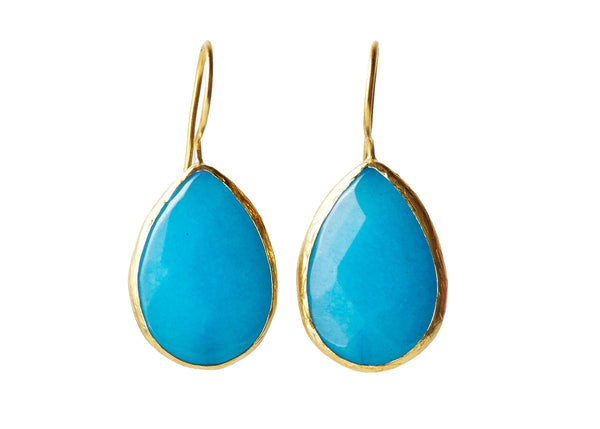 Darya Blue Quartz Natural Stone Teardrop Earring