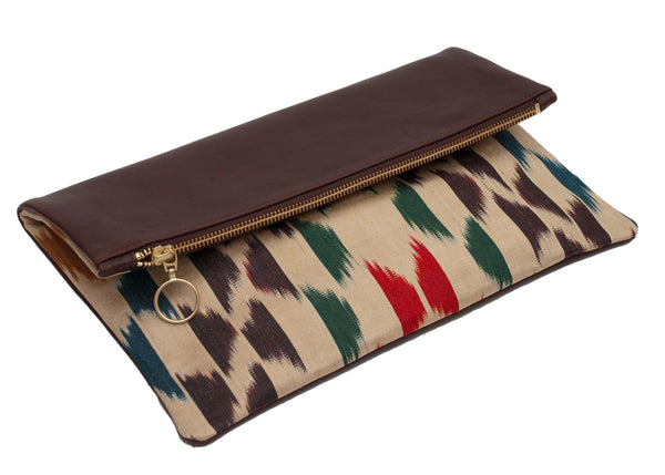 Modern Geo Silk Leather Designer Foldover Clutch