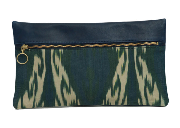 Peacock Silk Leather Designer Clutch