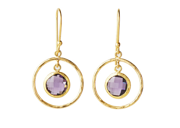 Celine Purple Quartz Natural Stone Loop Earring