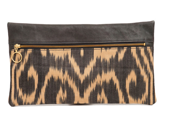 Smokey Golden Silk Leather Designer Clutch