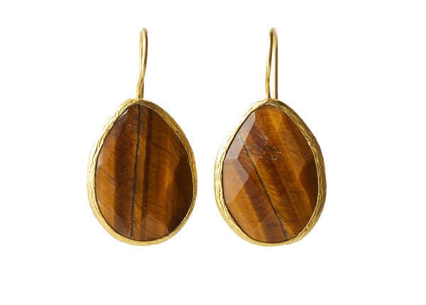 Darya Tiger Eye Natural Stone Teardrop Earring