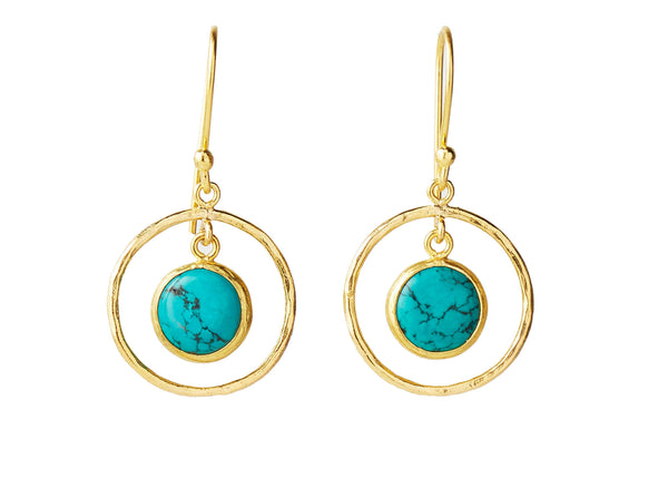 Celine Turquoise Natural Stone Round Earring