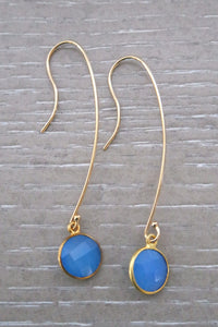 Mimi Circle Blue Chalcedony Earrings