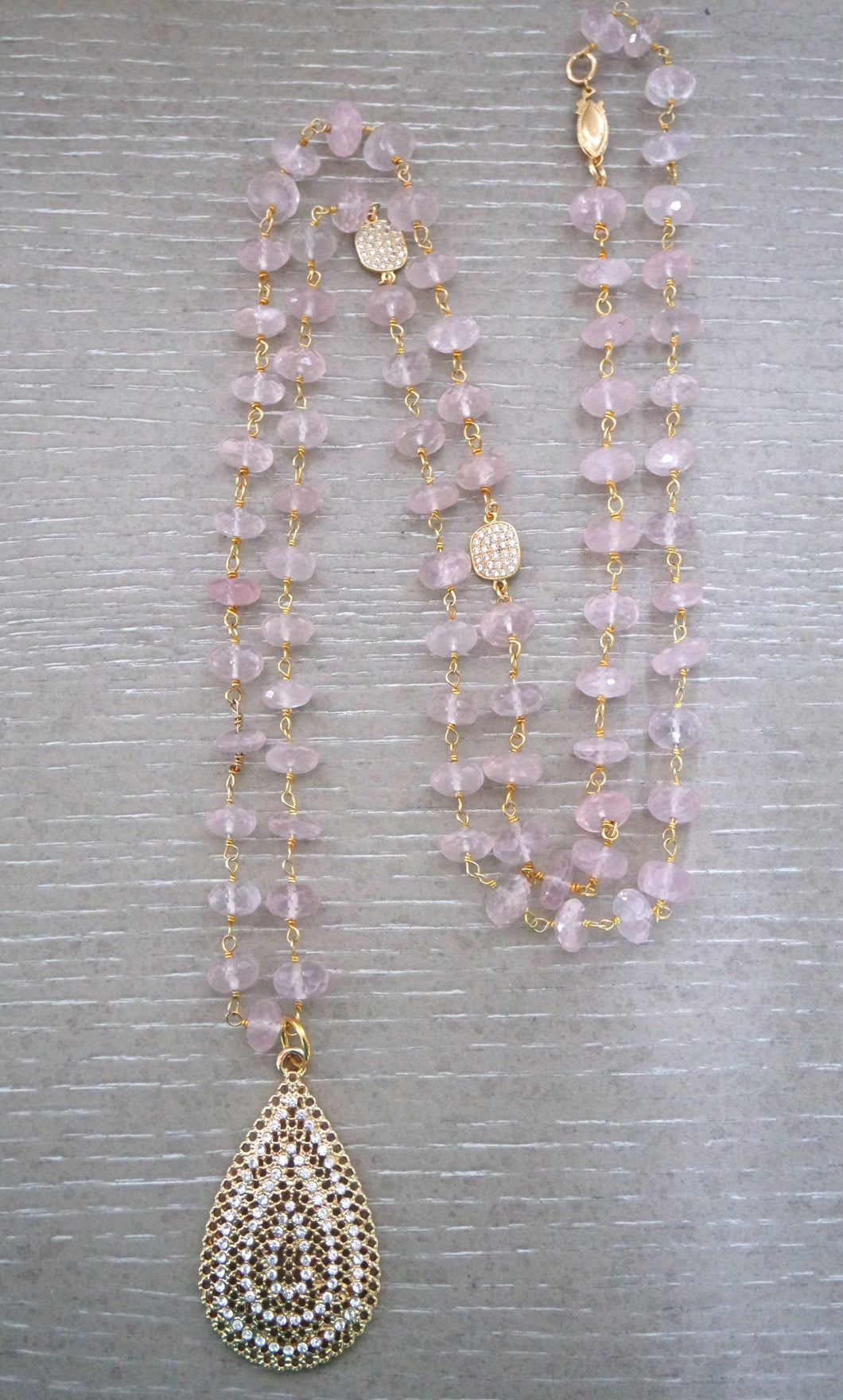 Tara Rose Quartz Long Necklace