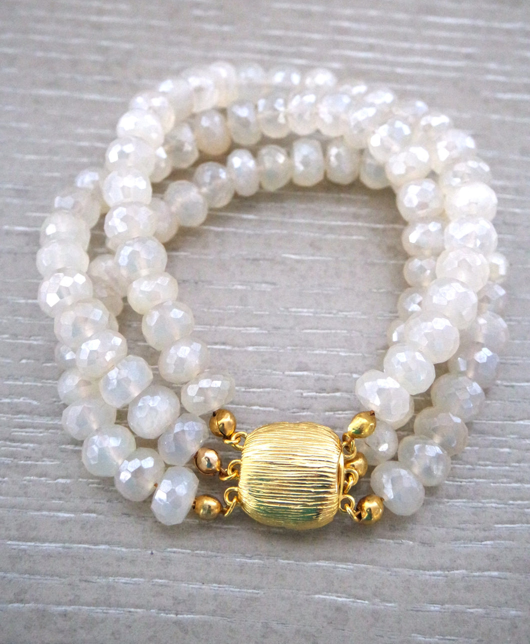 Rainey Triple Pearl Chalcedony Bracelet