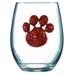 Red Paw Print Jeweled Wine Glass