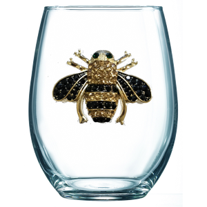 Queen Bee Jeweled Wine Glass ~ Stemless
