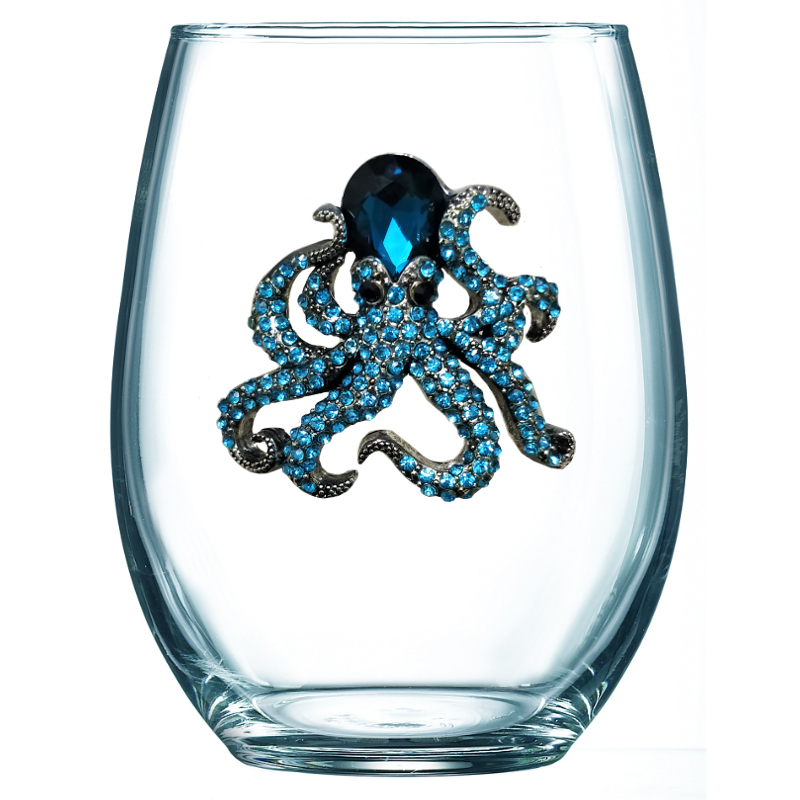 Octopus Jeweled Wine Glass ~ Stemless