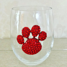 Load image into Gallery viewer, Red Paw Print Jeweled Wine Glass