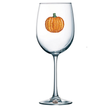 Load image into Gallery viewer, Pumpkin Jeweled Wine Glass ~ Stemmed