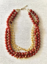 Load image into Gallery viewer, Jaci Red Adventurine & Gold Necklace