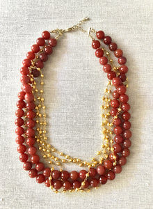 Jaci Red Adventurine & Gold Necklace