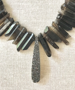 Agnes Smokey Topaz & Druzy Gemstone Necklace