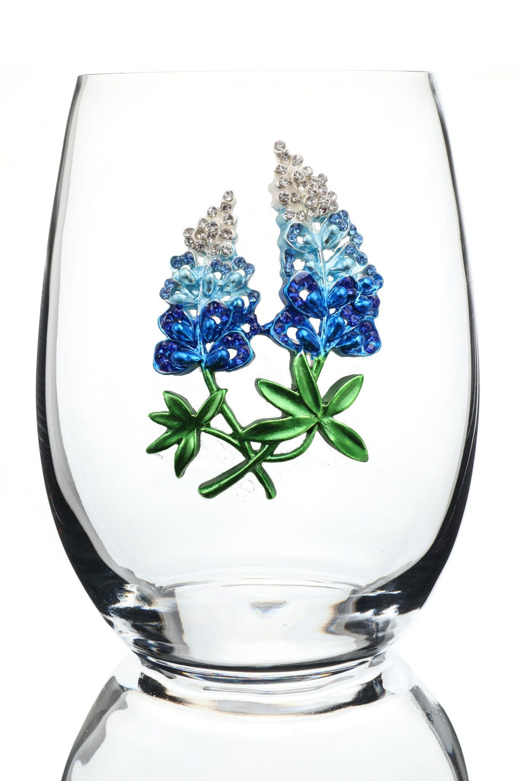 Blue Bonnet Jeweled Wine Glass ~ Stemless