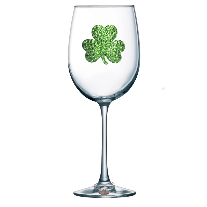 Shamrock Jeweled Wine Glass ~ Stemmed