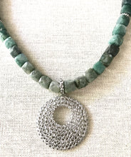 Load image into Gallery viewer, Seraphina Moss Agate Pendant Necklace