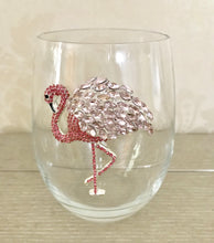 Load image into Gallery viewer, Flamingo Jeweled Wine Glass